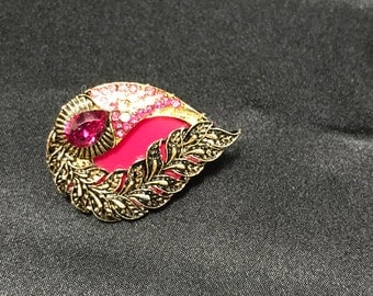 Rani Pink Brooch - Indian Brooch - Indian Saree Pin - Indian Jewelry - Kundan Jewelry - Indian Bridal - South Indian Jewelry - Bollywood -