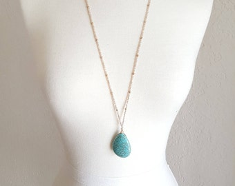 Turquoise Stone Tear Drop Necklaces,Marble Necklaces,Turquoise Tear Drop Necklace,Tear Drop Necklace,Beaded Stone Necklaces,Turquoise Stone