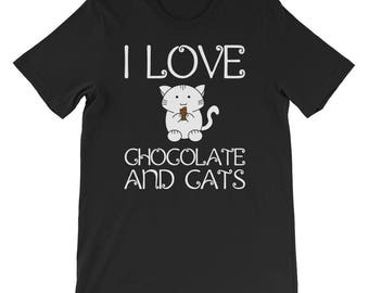I love chocolate and cats T-Shirt cat and chocolate lovers gift i love cats funny crazy cat lady mom tee shirt chocolate addict t-shirt