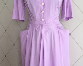 Lovely Lilac 1950's Fine Cotton Frock UK Size 12 Vintage 50's Fifties