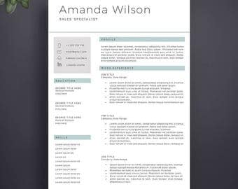Resume Template, Professional Resume Template, Instant Download, Modern Resume Template, Professional CV Template, Simple Resume Template