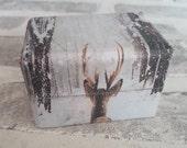 Winter Wedding Double Ring Box - Winter Wonderland - Deer / Stag Snow - Wedding Ring Box