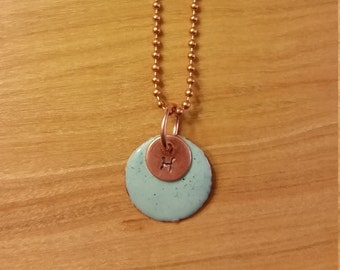 Robin's Egg Blue Torch-Enameled Copper Pendant on 20 Inch Chain
