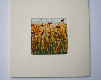 Poppy Field - original encaustic wax art greetings card