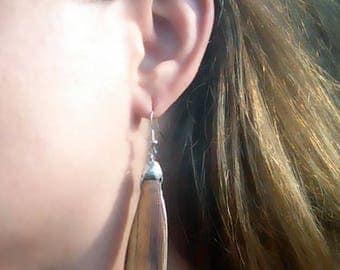 Long Petal Shape Modern Wood & Sterling Silver Dangle Earrings