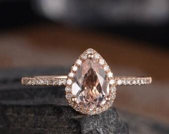 Pear Shaped Engagement Ring Morganite Rose Gold Ring Bridal Diamond Halo Women Antique Ring Anniversary Gift Half Eternity Band Drop Tear