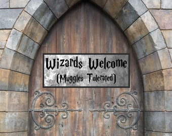 Muggles, Muggles Sign, No Muggles Sign, Wizards Welcome, Harry Potter, Harry Potter Print, Cuttable, Sticker, Digital File, Print, Cut File