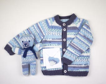 Hand knitted baby boy cardigan. Blue fair isle effect yarn and contrast edging.Matching teddy and gift card.Sweater.