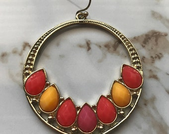 Gold Red and Yellow Gem Hoop Earrings