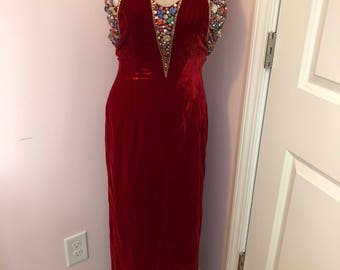 Vintage Red Velvet Beaded Gown Size Small
