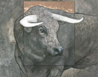 Guardian, Original Mixed Media Bull Painting