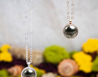 Stone of Hidden Fire Necklace | 10mm Pyrite Necklace | Sterling Silver Pyrite Stone Necklace
