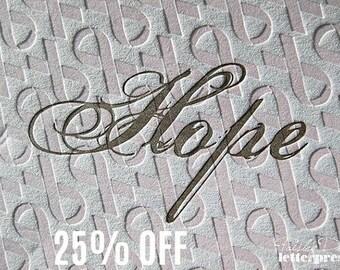 Breast Cancer Awareness - Letterpress Note Cards - HOPE (set of 6) / Inspiration / Encouragement / Support / Pink Ribbon / Think Pink