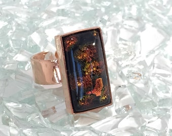 fused glass adjustable copper ring in black and orange-gold dichroic sparkle