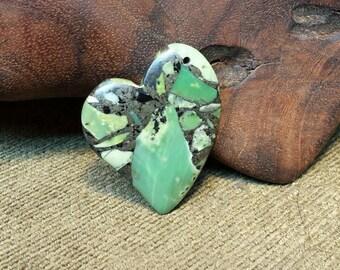 15% off sale Irish Lion ~ Green Turquoise  Pyrite Matrix Heart