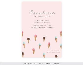 Ice Cream Birthday Invitation   Ice Cream Printable, Ice Cream Template, Instant Download, Printable Template, Ice Cream Party, DIY Birthday