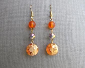 Tangerine Dangle  Earrings Orange