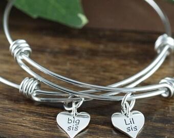 Big Sis Lis Sis Bracelet Set, Big Sister Bracelet, Little Sister Bracelet, Big Sister Jewelry, Little Sister Jewelry, Gift for Sister