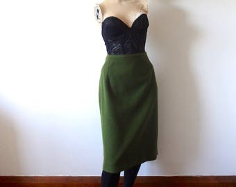 1960s Pencil Skirt, olive green wiggle skirt, midcentury vintage classic skirt size XL