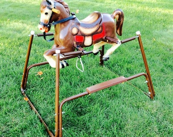 Vintage Rocking Pony Horse Toy Ride On Horse Spring Bouncy by Wonder Products 1960s