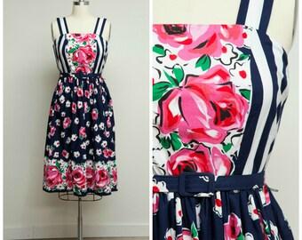 Vintage 1970s Dress • Flower Basket • Navy Blue Stripe Floral 70s Cotton Sun Dress Size Small