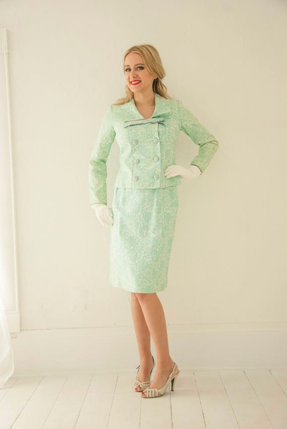 Vintage seafoam green suit dress, 1960s sailor collar, floral brocade two-piece set, long sleeves, high-waist pencil skirt, 1950s pin-up, XS