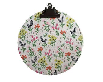 """10"""" Floral Clipboard / Decorative Clipboard / Round Clipboard / Handmade Clipboard / Hanging Clipboard / Teacher Gift / Gifts for Her"""