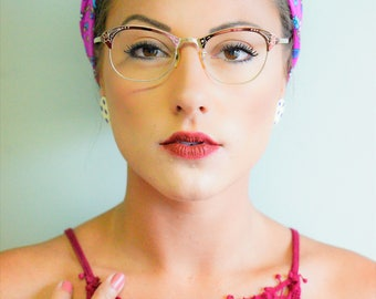 Vintage Cat eye Glasses 1950's All metal Frame 12k Gold Filled Made In USA Beautiful Color Rockabilly  Rare semi Oval