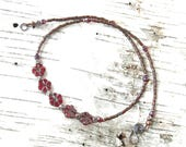 Red flower necklace cherry wine cranberry Czech pressed glass floral & copper beads