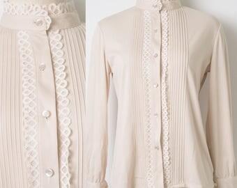 60s Top, Vintage Ivory Top, Mad Men Top, vintage cream top, vintage pleated top, Vintage blouse, 60s Blouse, Ivory blouse - M/L