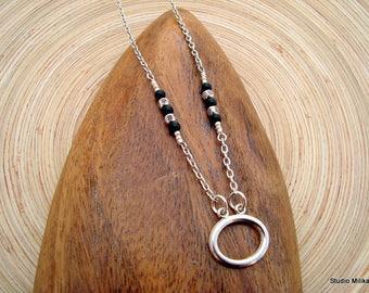 Silver Eyeglasses Necklace Readers Chain, Beaded Eyeglass Necklace, Flower, Silver Chain Lanyard, Stainless Steel, Eyeglass Holder with loop