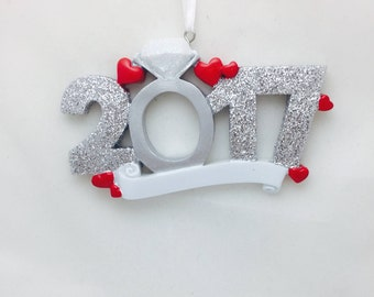 Engagement Personalized Christmas Ornament / 2017 Engagement Ornament / Personalized Ornament / 2017 Engaged Ornament