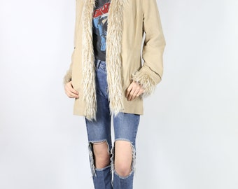 Genuine Sude with Faux Shearling Trim Jacket - Tan Leather Penny Lane Coat