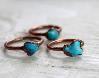 Turquoise Ring Electroformed Turquoise Ring Sagittarius Birthstone Kingman Turquoise Copper Ring Blue Ring Real Turquoise