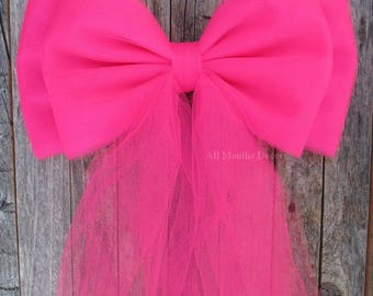 Hot Pink Tulle Pew Bow, Bright Pink, Optional Silver or Gold Bling, Valentines Day, Wedding Decorations, Party Bridal Baby Shower, Chair Bow
