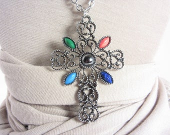 Vintage Avon Large Cross Necklace Romanesque 70s