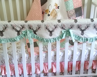Fawn in Tulip Woodland Crib Bedding Girl Patchwork Baby Toddler Quilt Crib Skirt Sheet Coral Mint Deer Buck Stag Rail Cover Nursery