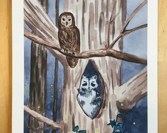 Owl, Raccoon and Firefly Painting Nightime Scene Watercolor Painting Art Print 8x10 Children's Nursery Art