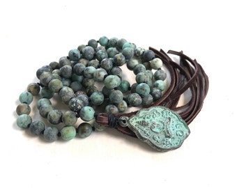 African Turquoise Mala Beads, Mala For Change, Leather Tassel Mala Necklace, Buddha Pendant Mala Bead, 108 Bead Meditation Mala