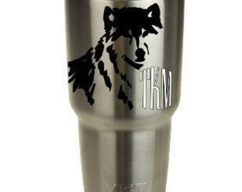 Yeti decal,yeti decal monogram,wolf decal,custom decal,decal for yeti,4 x 4 decal,wildlife decal,cup decal,personalized yeti,colster decal,