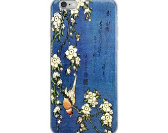 Japanese bird iPhone case, Asian woodblock print, great for bird lovers, flower lovers, and Hiroshige lovers!
