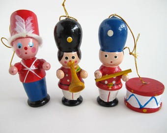 Wood Ornaments Vintage Kitschy Christmas, Wooden Holiday Decor
