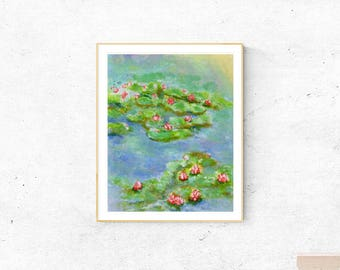 Printable floral art,downloadable, landscape painting,printable wall art print,waterlily painting,instant digital download,red green blue