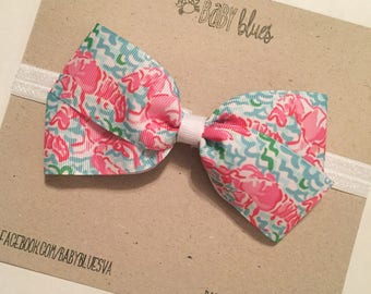 Monogrammed hair bow. Lilly Pulitzer inspired bow headband. Monogrammed bow clip. Baby girl gift. Newborn girl gift. Lilly baby. Bow.