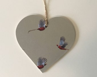 Pheasant Print~ 10cm Decoupaged Hanging Heart ~ Countryside Country Kitchen Decor Gift