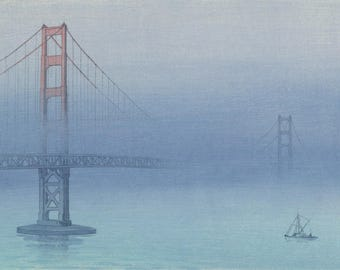 "Japanese Art Print ""Golden Gate Bridge"" by Kakunen Tsuruoka, woodblock print reproduction, asian art, cultural art, San Francisco, sea, fog"