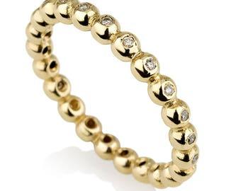 14K Gold Circle Ring , Yellow Gold and Diamond Engagement Ring , Gemstone Engagement Ring , Diamond Engagement Ring