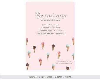 Ice Cream Birthday Invitation | Ice Cream Printable, Ice Cream Template, Instant Download, Printable Template, Ice Cream Party, DIY Birthday