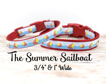 """Sailboat Dog Collar, Boat Collar, Sailboat Collar, Beach Dog Collar, Nautical Dog Collar,Buckle Collar, Martingale,  1"""" or 3/4"""" Wide"""