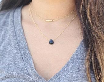 Black Swarovski Crystal Faceted Teardrop Pendant Necklace Affirmation Jewelry